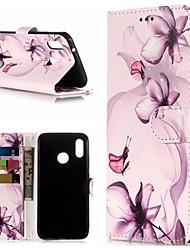 Недорогие -Кейс для Назначение Huawei P20 / P20 lite Кошелек / Бумажник для карт / со стендом Чехол Бабочка / Цветы Твердый Кожа PU для Huawei P20 / Huawei P20 Pro / Huawei P20 lite