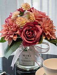baratos -Flores artificiais 1 Ramo Clássico / Solteiro (L150 cm x C200 cm) Modern Rosas Flor de Mesa