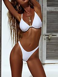 Недорогие -Жен. Классический На бретелях Желтый Пурпурный Винный Стринги Смелые Бикини Купальники - Однотонный M L XL / Сексуальные платья