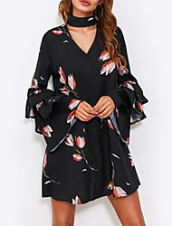 baratos -Mulheres Básico Chifon Vestido - Estampado, Floral Acima do Joelho