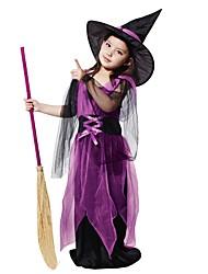 Недорогие -ведьма Костюм Девочки Детские Хэллоуин Хэллоуин Карнавал День детей Фестиваль / праздник Инвентарь Лиловый Однотонный Halloween