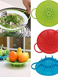 cheap -Vegetable Silicone Food Steamer Heatproof Plate Round Dish Cooking Non-Slip Cooker
