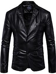 Недорогие -Муж. Профессиональный стиль Зима Обычная Кожаные куртки, Однотонный Рубашечный воротник Длинный рукав Полиуретановая Коричневый / Черный