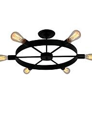 cheap -6-Head Vintage Black Metal Wheel Semi Flush Mount Ceiling Light Living Room Dining Room Lighting Painted Finish