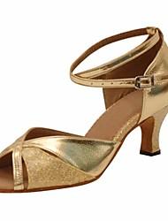 cheap -Women's Latin Shoes PU(Polyurethane) Heel Slim High Heel Dance Shoes Gold / Silver
