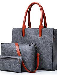 baratos -Mulheres Bolsas PU Conjuntos de saco 3 Pcs Purse Set Ziper Vermelho / Cinzento / Marron