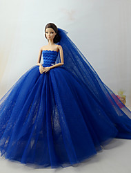 cheap -Dresses Dress For Barbie Doll Aquamarine Tulle / Lace / Silk / Cotton Blend Dress For Girl's Doll Toy