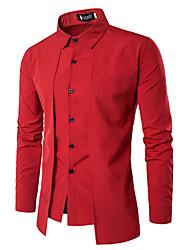 Недорогие -Муж. Офис Рубашка Деловые / Винтаж Однотонный / Длинный рукав