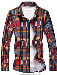 cheap -Men's Basic Shirt - Plaid Print / Long Sleeve