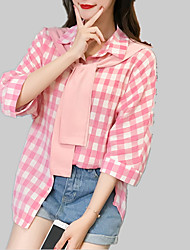 cheap -Women's Shirt - Solid Colored / Check Lace up / Print
