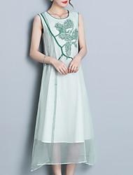 Недорогие -Жен. Шифон Платье С принтом Средней длины
