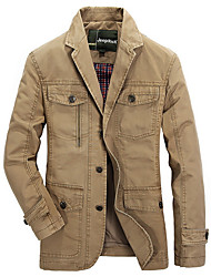 cheap -Men's Military Jacket - Solid Colored / Contemporary