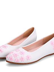 Недорогие -Жен. Обувь Синтетика Лето Балетки На плокой подошве На плоской подошве Заостренный носок Цветы из сатина Синий / Розовый
