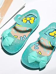 baratos -Para Meninas Sapatos PVC Verão Plástico Rasos Laço / Velcro para Bébé Vermelho / Verde / Rosa claro