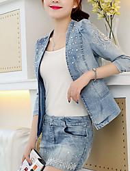 Недорогие -Жен. Джинсовая куртка V-образный вырез Современный стиль