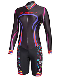 cheap -Malciklo Women's Long Sleeve Triathlon Tri Suit - Black Camouflage / British Bike Quick Dry, Breathable Coolmax® / Lycra