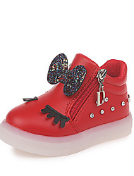 cheap -Girls' Shoes PU(Polyurethane) Fall & Winter Comfort / Fashion Boots Sneakers Walking Shoes LED for Kids Black / Red / Pink / Booties / Ankle Boots
