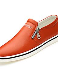 Недорогие -Муж. Кожа Осень Удобная обувь Мокасины и Свитер Черный / Оранжевый / Синий