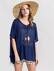 cheap -Women's Basic Off Shoulder Cover-Up - Solid Colored Tassel Skirt