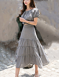 baratos -Mulheres Moda de Rua Luva Lantern Camisa Social Quadriculada Saia