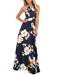 cheap -Women's Slim Sheath Dress High Waist Maxi Halter Neck / Spring