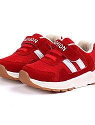 abordables -Chica Zapatos Gasa / PU Primavera verano Confort Zapatillas de Atletismo Paseo Cinta Adhesiva para Bebé Negro / Rojo / Rosa