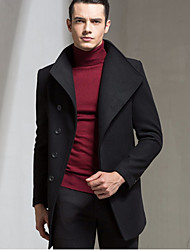 cheap -Men's Work Wool Coat - Solid Colored / Long Sleeve
