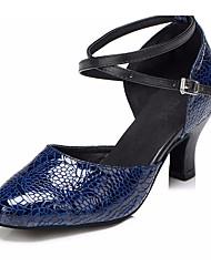 baratos -Mulheres Sapatos de Dança Moderna Pele Salto Salto Grosso Sapatos de Dança Azul