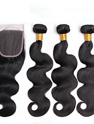 cheap -3 Bundles with Closure Brazilian Hair Body Wave Human Hair Natural Color Hair Weaves / Tea Party Favors / Costume Accessories 8-20 inch Human Hair Weaves 4x4 Closure Best Quality / New Arrival / Hot