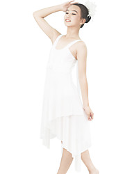 baratos -Balé Vestidos Mulheres Espetáculo Elástico / Grade / Lycra Faixa / Fita / Cruzado / Cristal / Strass Sem Manga Natural Jóias para o Cabelo / Vestido