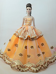 cheap -Dresses Dress For Barbie Doll Golden yellow Tulle / Lace / Silk / Cotton Blend Dress For Girl's Doll Toy