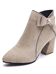 Недорогие -Жен. Обувь Замша Лето Модная обувь Ботинки На толстом каблуке Заостренный носок Сапоги до середины икры Бант Черный / Бежевый / Розовый
