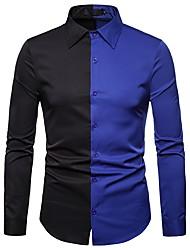 baratos -Homens Camisa Social Moda de Rua / Exagerado Patchwork, Estampa Colorida Preto e Vermelho / Preto & Branco