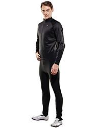 cheap -SPAKCT Men's Cycling Jersey with Tights Bike Clothing Suit Solid Colored Fleece Black / Red / Black / Green / Black / Blue Bike Wear / YKK Zipper