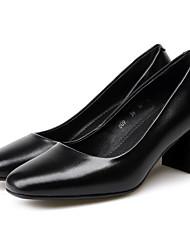 abordables -Femme Chaussures Cuir Nappa Printemps Escarpin Basique Mocassins et Chaussons+D6148 Talon Bottier Noir