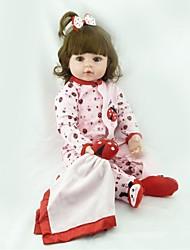 Недорогие -NPKCOLLECTION NPK DOLL Куклы реборн Девочки 24 дюймовый как живой Очаровательный Искусственная имплантация Коричневые глаза Детские Девочки Игрушки Подарок