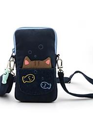 cheap -Women's Bags Cotton Mobile Phone Bag Zipper Blue / Black / Dark Gray