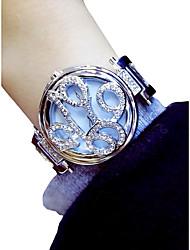 Недорогие -Жен. Наручные часы Кварцевый Серебристый металл / Золотистый Секундомер Светящийся Милый Аналоговый Дамы Цветы Элегантный стиль - Золотой Серебряный / Имитация Алмазный