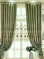 cheap -Sheer Curtains Shades Bedroom Solid Colored Cotton / Polyester Printed