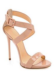 baratos -Mulheres Sapatos Couro Ecológico Verão Conforto Sandálias Salto Agulha Preto / Amêndoa