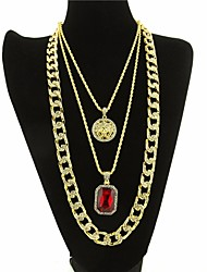cheap -Men's AAA Cubic Zirconia Cuban Link / Thick Chain Statement Necklace / Long Necklace - Head Statement, Trendy, Rock Black, Dark Red 61/76 cm Necklace 3pcs For Club, Bar