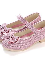 abordables -Fille Chaussures Polyuréthane Printemps & Automne / Printemps Confort / Chaussures de Demoiselle d'Honneur Fille Ballerines Marche Fleur / Scotch Magique pour Enfants Or / Argent / Rose