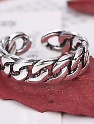 Недорогие -Для пары Сцепляющая цепь Открытое кольцо / Регулируемое кольцо - Простой, Повседневный / Sporty, Мода Регулируется Серебряный Назначение Повседневные / Свидание