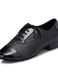 billiga -Herr Skor till latindans / Salsaskor Läder Sneaker Tvinning Kubansk klack Dansskor Svart