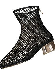 baratos -Mulheres Sapatos Couro Ecológico Verão Inovador Botas Salto Robusto Ponta Redonda Botas Cano Médio Branco / Preto