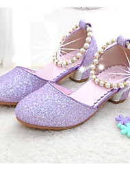 cheap -Girls' Shoes Synthetics Spring &  Fall Flower Girl Shoes / Tiny Heels for Teens Heels for Silver / Purple / Pink