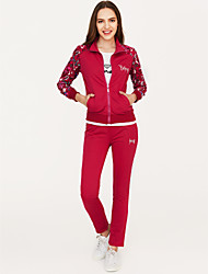 cheap -Women's Hoodie / Set - Solid Colored / Floral / Print Pant Crew Neck / Spring / Fall / Letter / Sporty Look