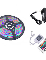 cheap -HKV 5m Flexible LED Light Strips / Light Sets 300 LEDs 3528 SMD 1 24Keys Remote Controller / 1 x 2A power adapter RGB Cuttable / Linkable / Self-adhesive 100-240 V