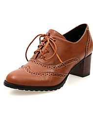 baratos -Mulheres Sapatos Couro Ecológico Primavera & Outono Com Laço Oxfords Salto Robusto Ponta Redonda Preto / Bege / Marron