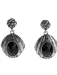 cheap -Women's Black Gemstone Stylish / Hollow Drop Earrings - Silver Gothic, Cute, Victorian Black For Engagement / Festival